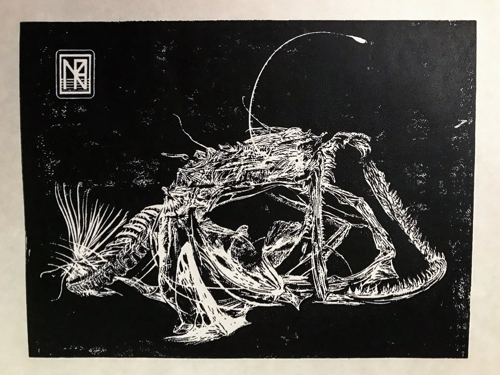 Anglerfish Skeleton (2018) - Black ink woodcut print on masa paper, 13