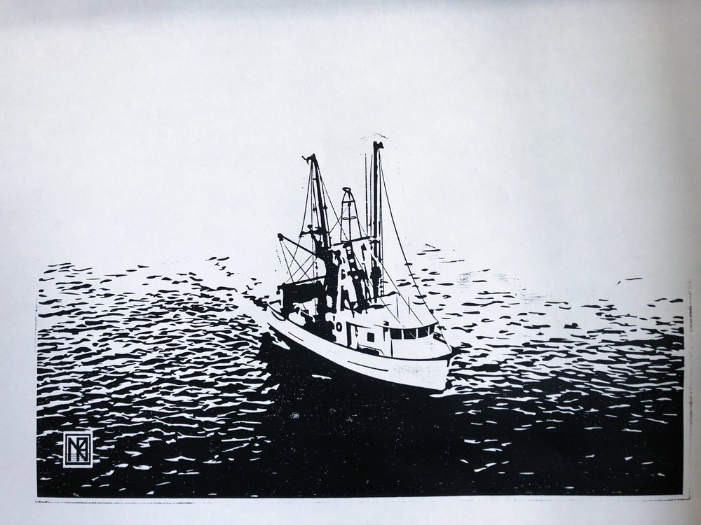 F/V Virginia Marise - Black ink woodcut print on masa paper, 26