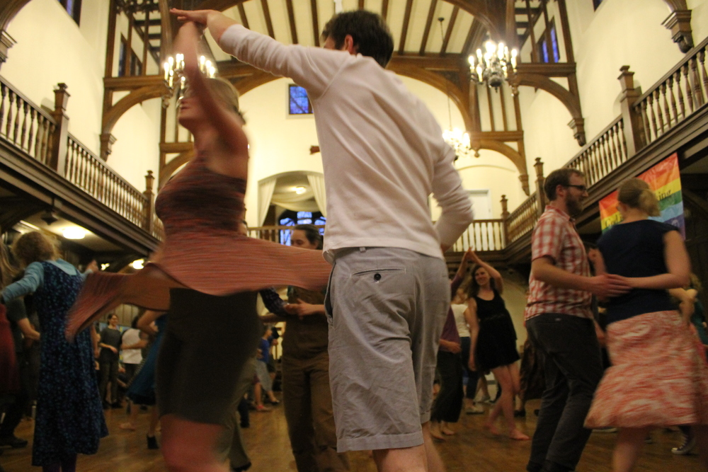 Image of dancers at April 21, 2016 Portland Intown Contra Dance   by Naomi Marthai.