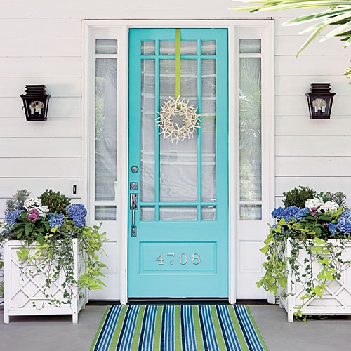 Oh, The Beauty Of Tiffany Blue  This Door Is Perfection! Of Course, This  Grand Exterior Would Look Gorgeous With Almost Any Color  But I Love How  This Blue ...