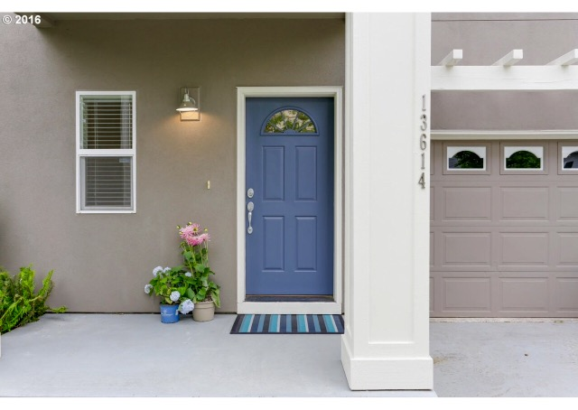 Fun Periwinkle Door Color With Beige Taupe Exterior