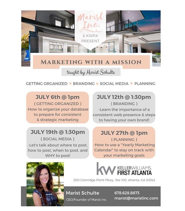 "Thank you to Keller Williams First Atlanta for having Marist Inc. at team meeting this week to speak about our services and to announce the 4 ""Marketing with a Mission"" classes Marist will be teaching in July!!! 💗✨🏡 #realestate #realestatemarketing #kellerwilliams #kellerwilliamsfirstatlanta #KW #KWFA #branding #socialmedia #design #marketing"