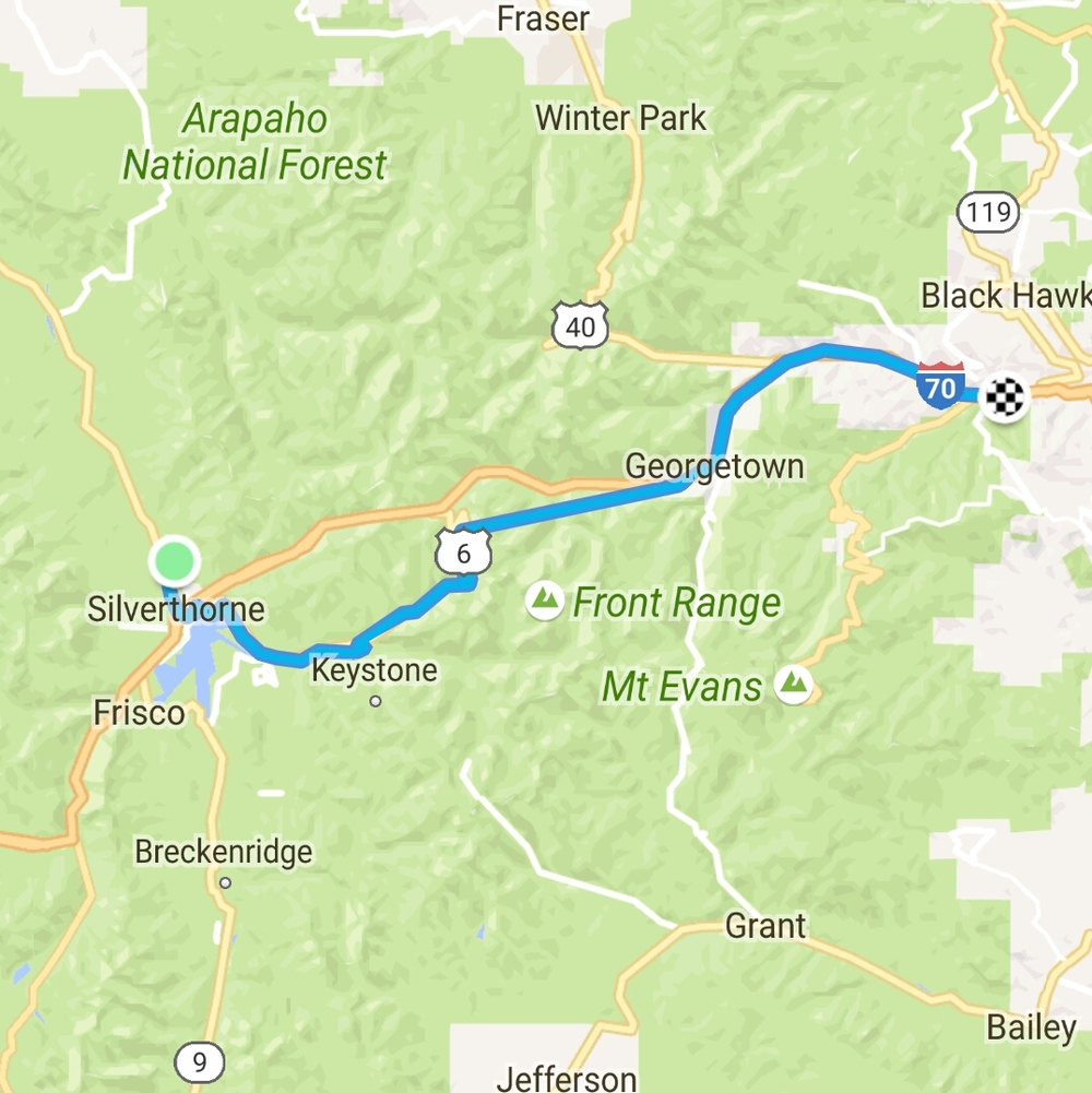 Cell phone turned off between mile 23 and 31, so map slightly distorted between summit and Georgetown