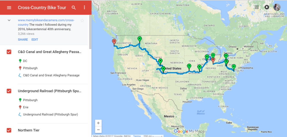 Preview of custom bike map in Google My Maps