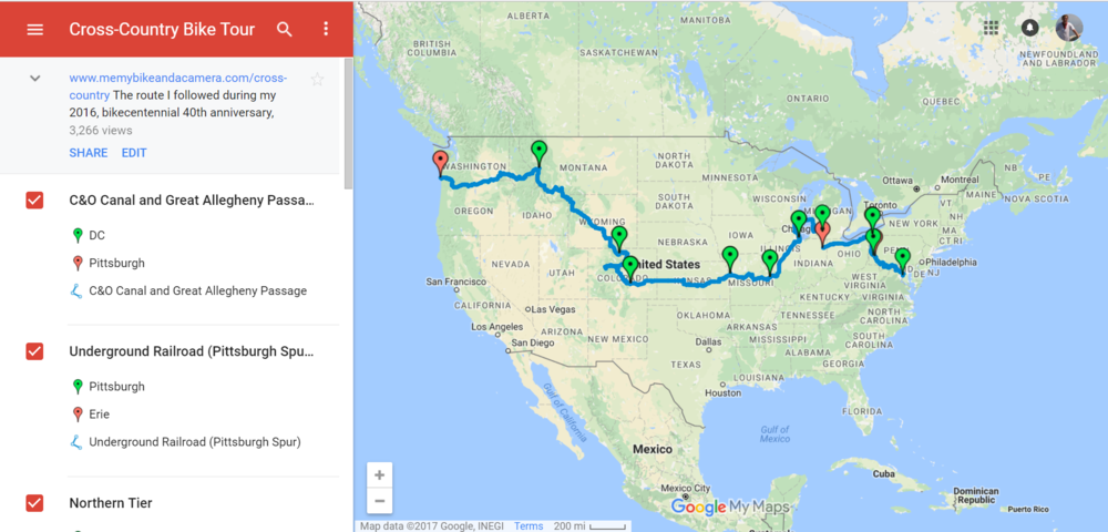 Custom Bike Map in Google My Maps