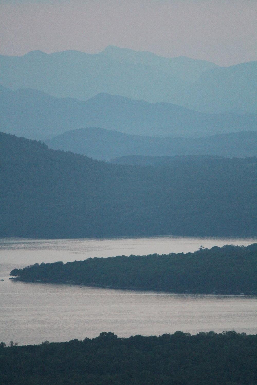 Sunset Adirondacks and Lake Champlaign