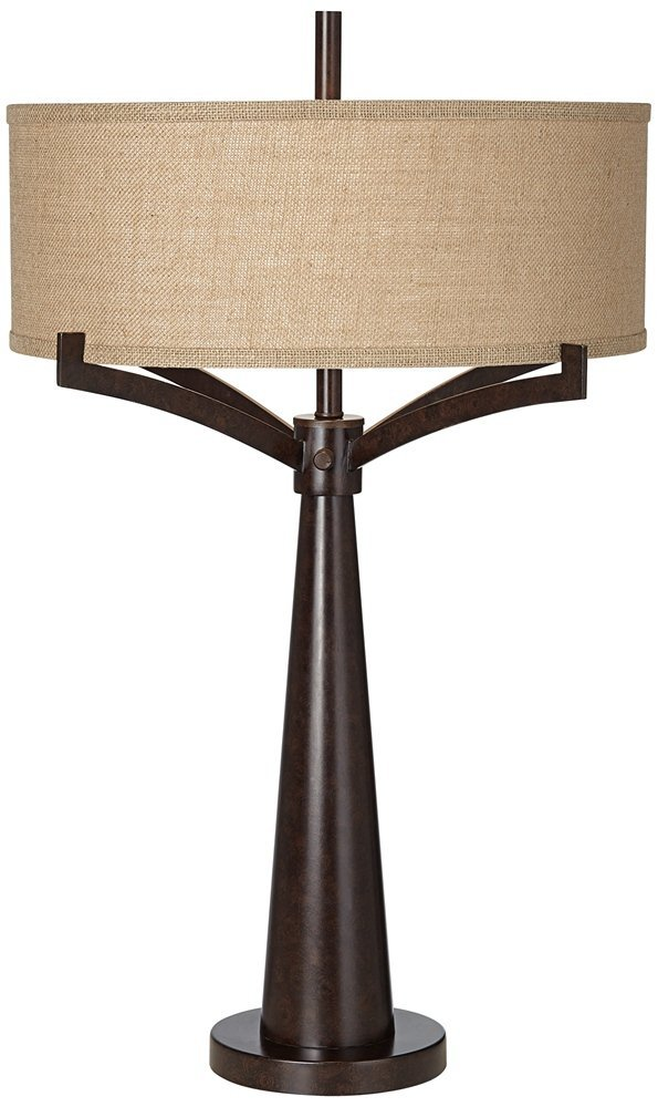 A perfect lamp with angles and a round shade for a narrow living room available through this  affiliate link .