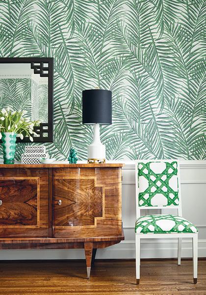 Thibaut's West Palm grasscloth in Emerald Green.
