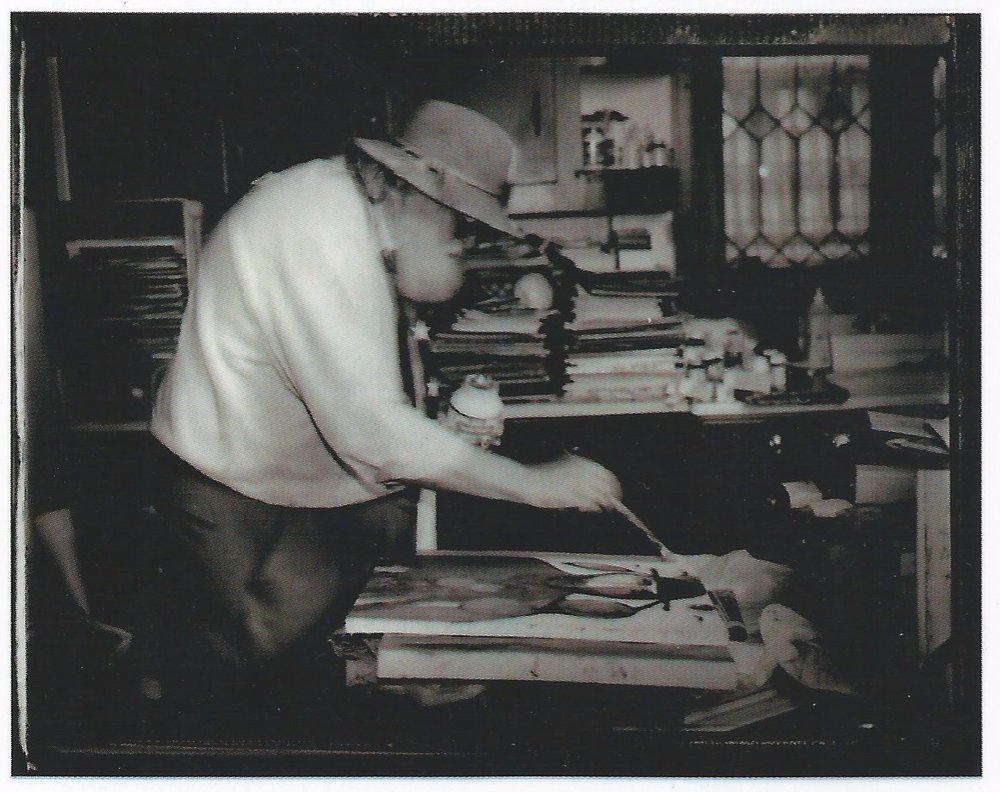 Bob Watt Painting at Home, photo by J. Shimon & J. Lindemann, Used with the Artist's Permission