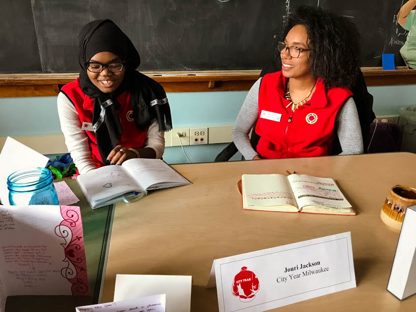 1pm Impact Manager Check In: Providing professional development to corps members is a priority for City Year. Every week corps members meet with their Impact Manager to receive support and feedback about attaining their personal and professional goals.