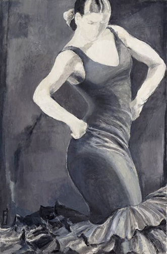 "Black and White Flamenco, 48"" x 36"""