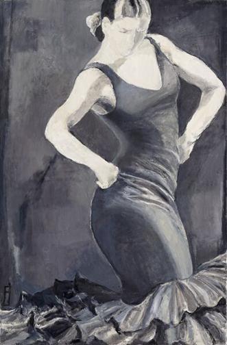 "Black and White Flamenco - 36"" X 48"""
