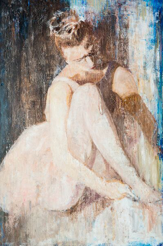 """Putting on Toe Shoes - 24"""" X 36"""""""