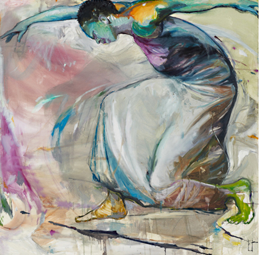 "Dancer with Green Foot, 48"" x 48"""