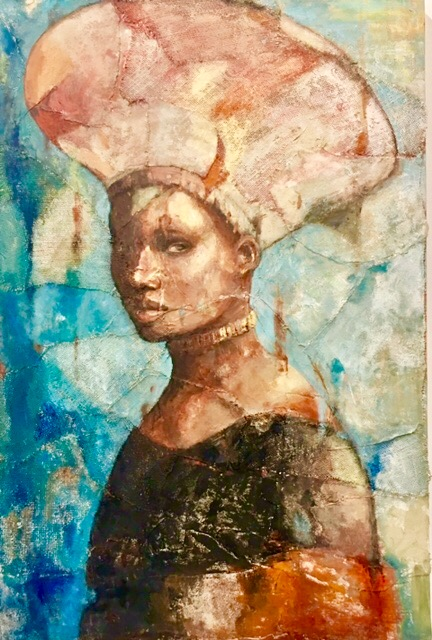 """Woman in Hat  30"""" x 36"""" Sold"""