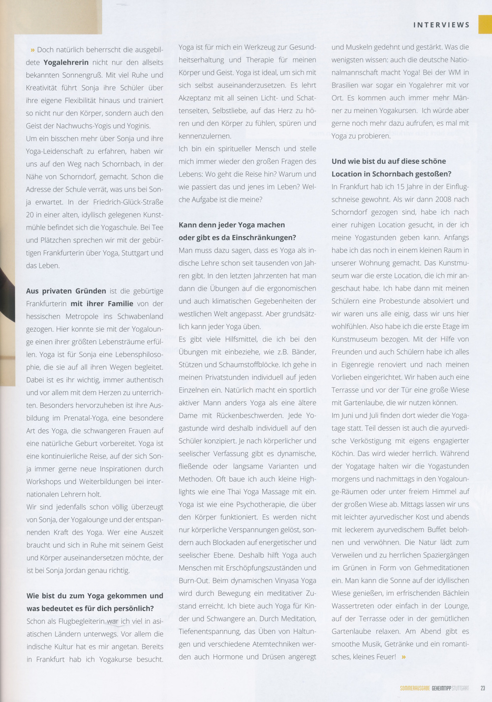 """Interview mit Sonja in der Sommerausgabe des Magazins """"Geheimtipp Stuttgart"""""""