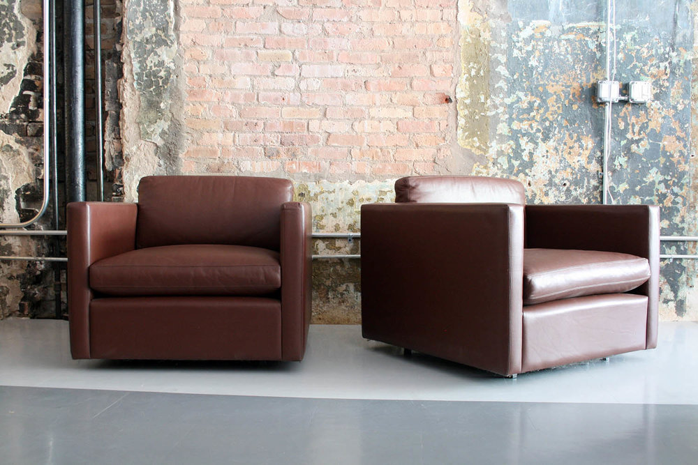 Charles Pfister For Knoll Leather Lounge Chairs