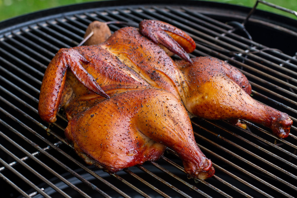 smoked chicken on weber smokey mountain cooker.jpg