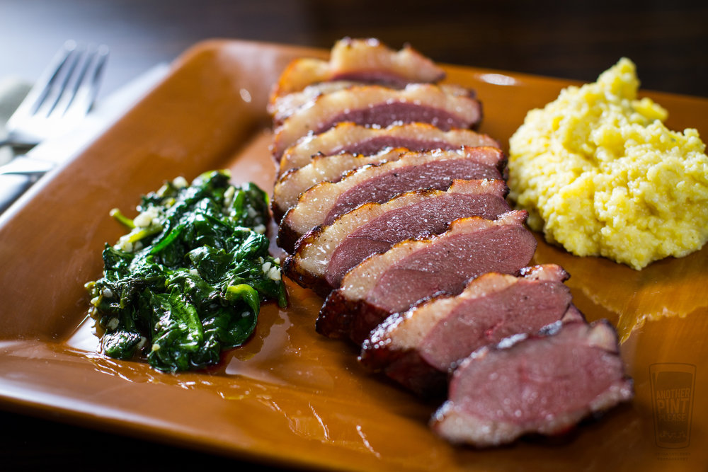 Grilled Duckchar Breast with Spinach and Polenta