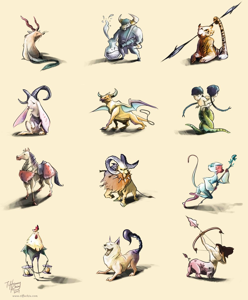 Character designs created by combining Chinese zodiac animals with the corresponding western horoscope features.