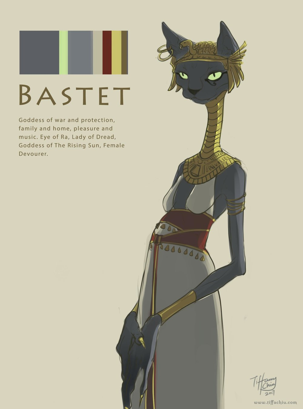 Concept for Bastet, Egyptian goddess of war and protection, family and home, pleasure and music.