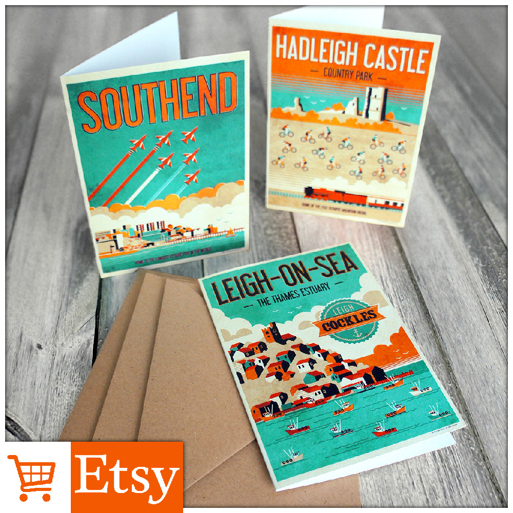 Southend / Leigh / Hadleigh - Greetings Cards set of 3