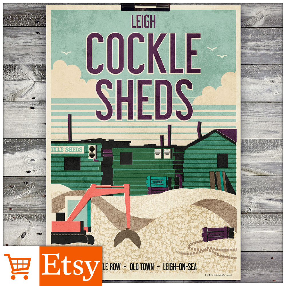 Leigh Cockle Sheds - A2 Poster