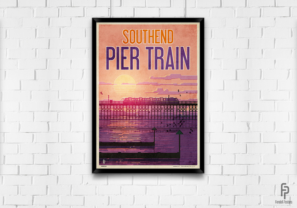 Southend - Pier Train - A2 Framed