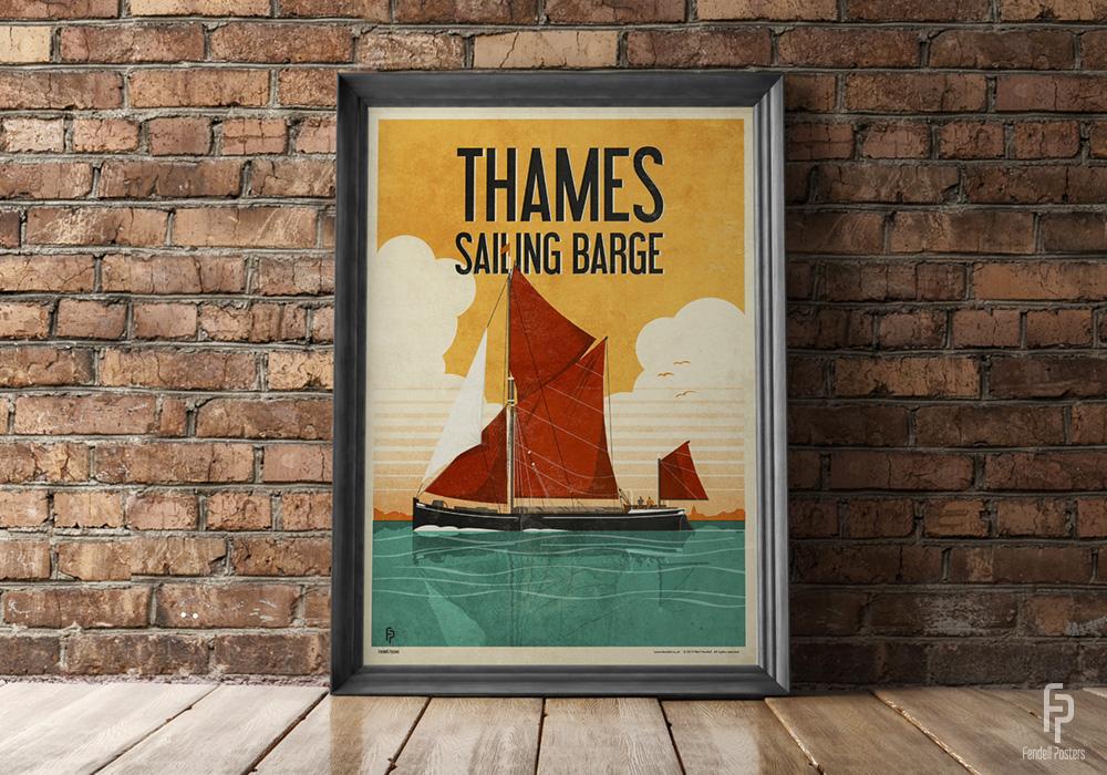 Thames Sailing Barge Framed by Neil Fendell