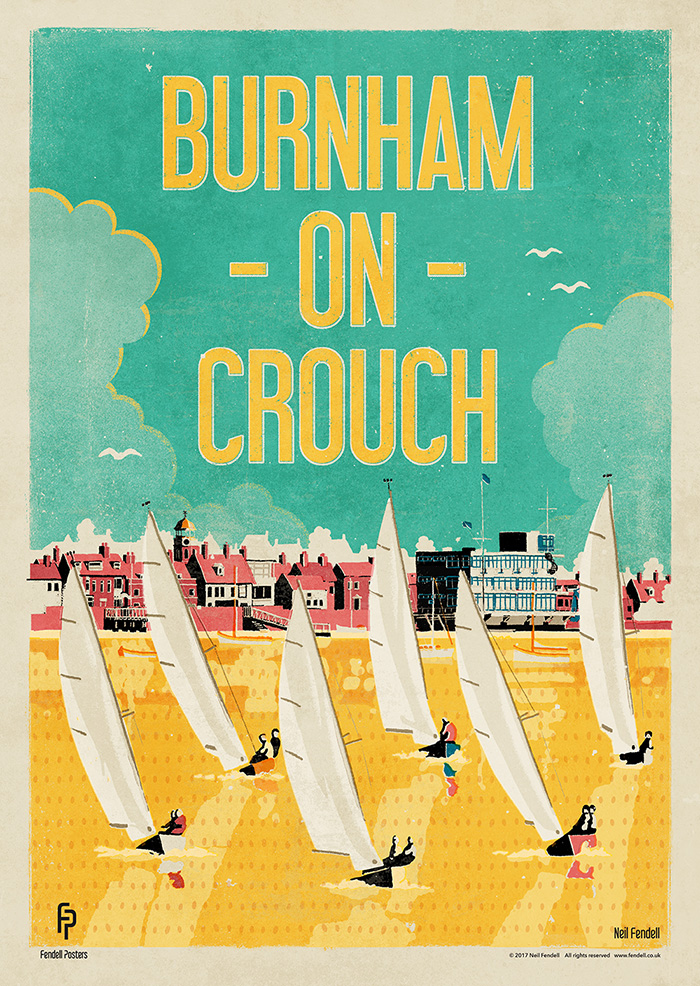 Burnham-on-Crouch, Essex, UK. Poster by Neil Fendell