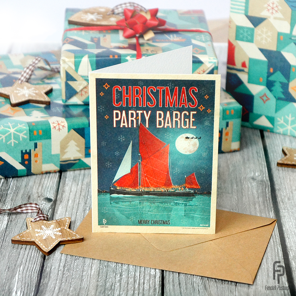 Thames Sailing Barge Christmas Card
