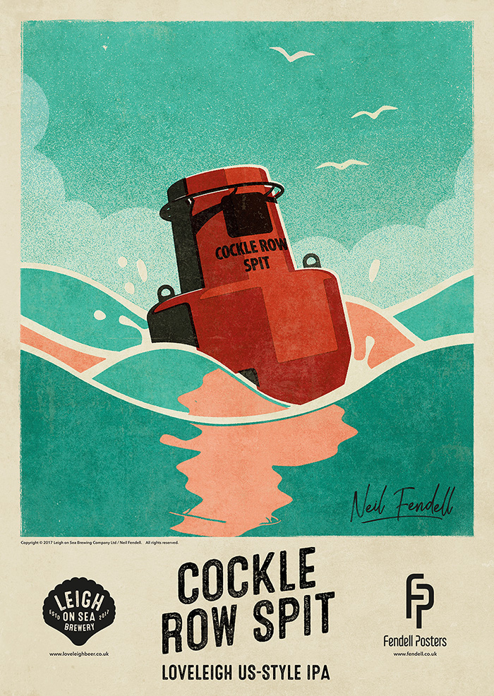 Leigh on Sea Brewery Posters - Cockle Row Spit - by Neil Fendell