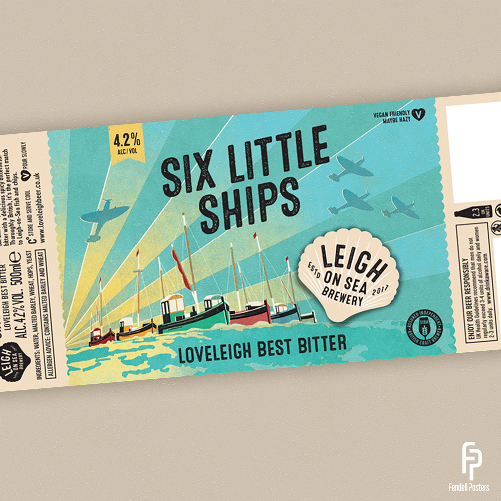 Leigh-on-Sea Brewery - Six Little Ships Bottle Label Artwork