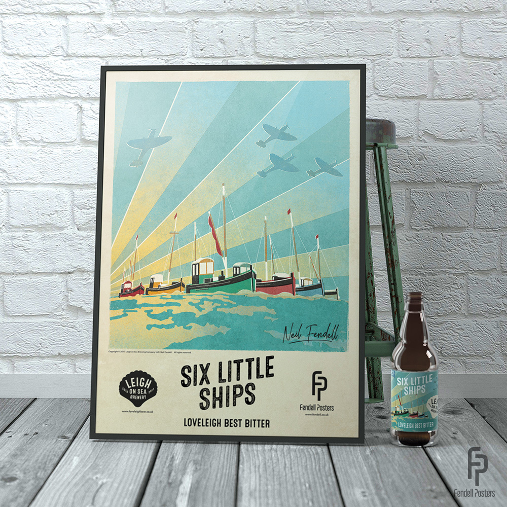 Leigh-on-Sea Brewery - Six Little Ships A2 Framed Poster
