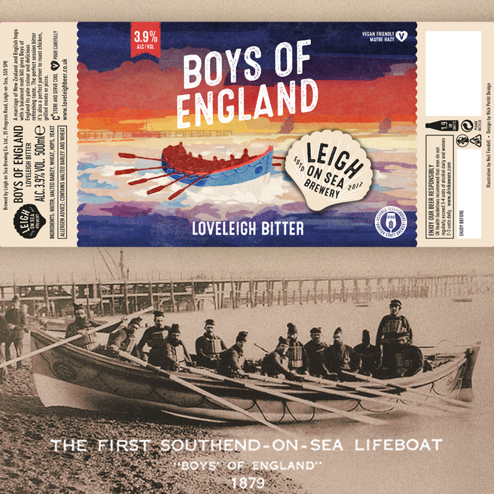 Leigh on Sea Brewery Bottle Label - with old photo