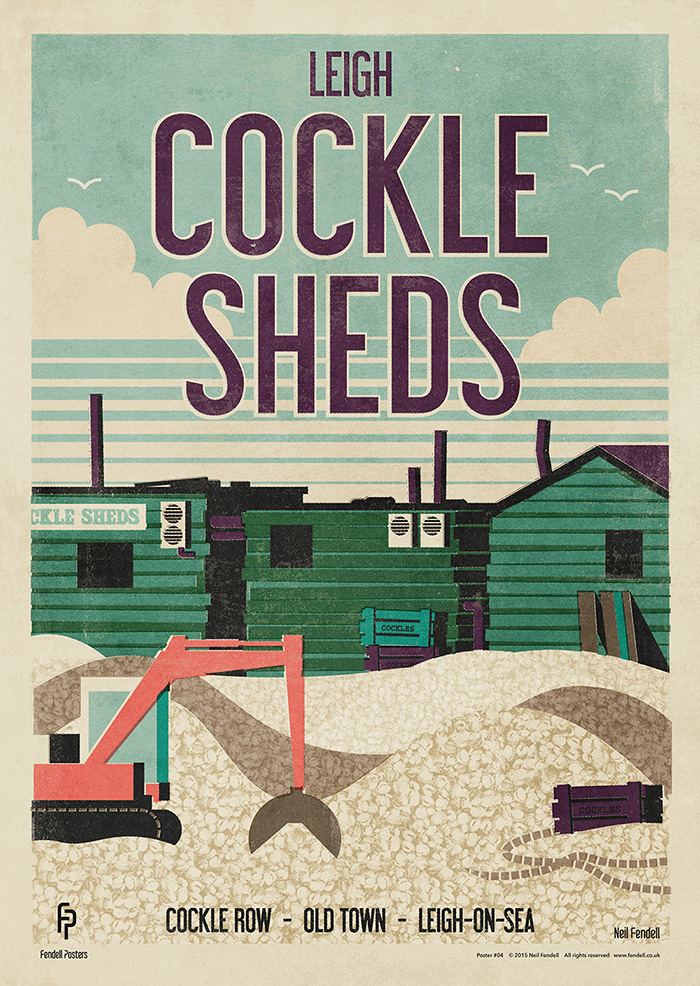 Leigh - Cockle Sheds poster by Neil Fendell