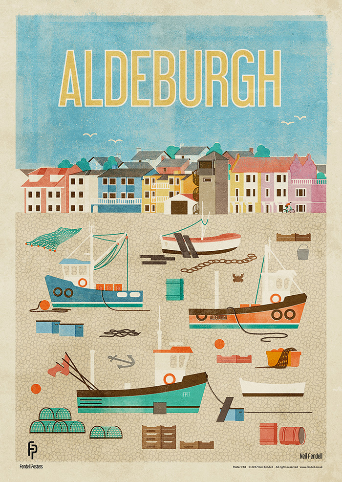 Aldeburgh, Suffolk, UK. Poster by Neil Fendell