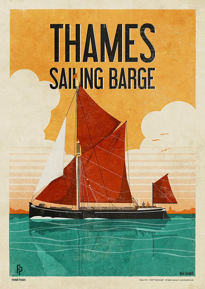 Thames Barge Poster Artwork by Neil Fendell