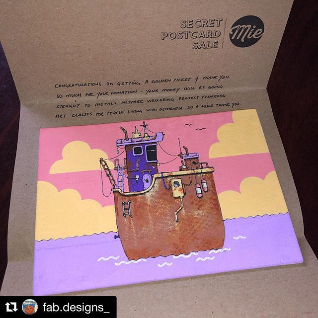 "Glad to see it's going to a great home! Thanks @fab.designs_ i'm so pleased you are happy with it.  #Repost @fab.designs_ with @get_repost ・・・ Thrilled with my wonderful Golden Ticket postcard by @neilfendell 😊 ""Rusty Boat of Leigh"" - what lovely colours! Will look great on my studio wall! Thank you & well done to Becky of @madeinessex for organising such a wonderful event! I'm so proud to have been a part of it ! #miesecretpostcardsale #secretpostcardsale @netparkwellbeing @metalsouthend #netparkwellbeingproject #metalsouthend #leighonsea #localartists #charity #artistsofleigh"