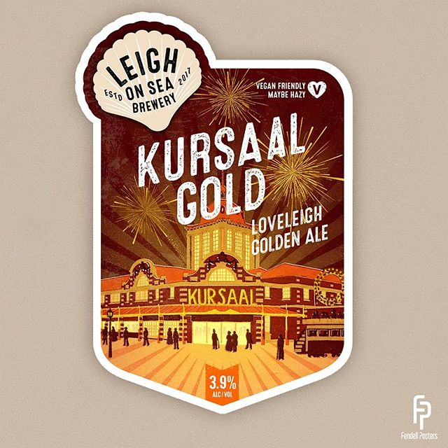 Here is the design for the Kursaal Gold pump clip. New beer from the incredible @losbrewery coming soon. Very pleased with how this design has come together. #southendonsea #kursaalsouthend #beerdesign #fendellposters