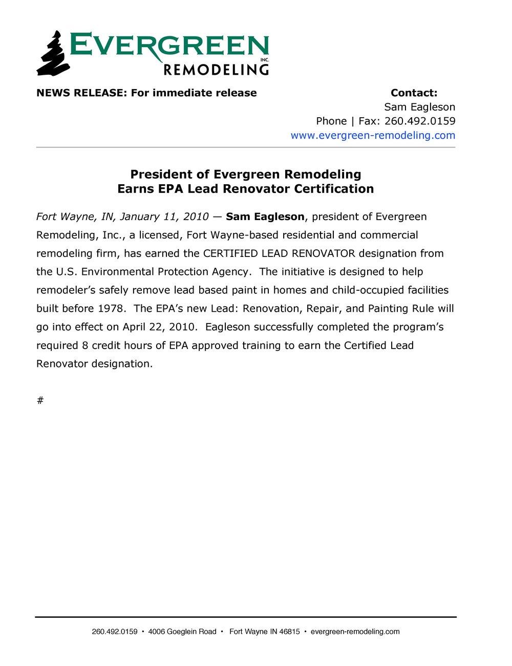 President Of Evergreen Remodeling Earns Epa Lead Renovator