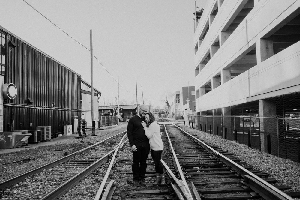 Charlottesville Downtown Mall Railroad Tracks Engagement Picture