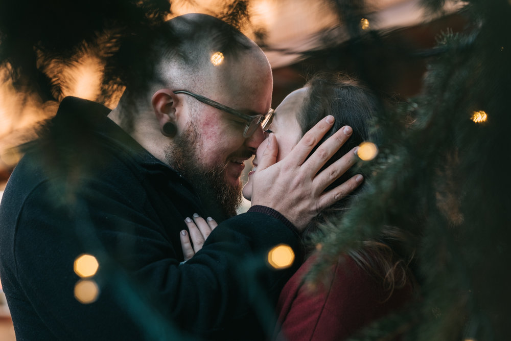 Downtown Mall Christmas Tree Engagement Pictures
