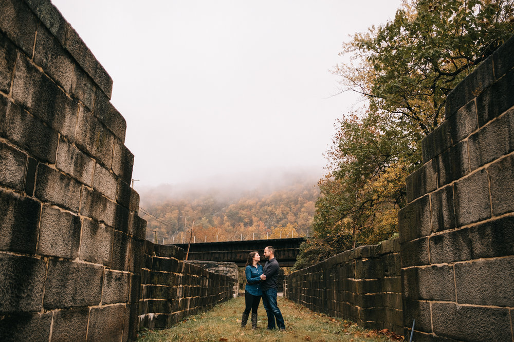 Foggy autumn harpers ferry engagement photo