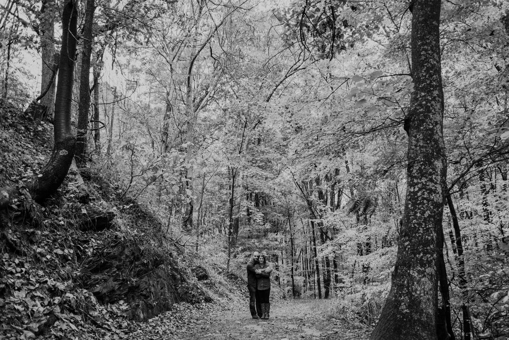 black and white harpers ferry hiking engagement session