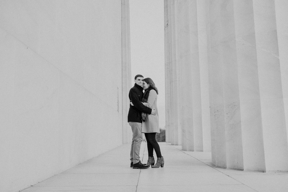 black and white lincoln memorial columns engagement