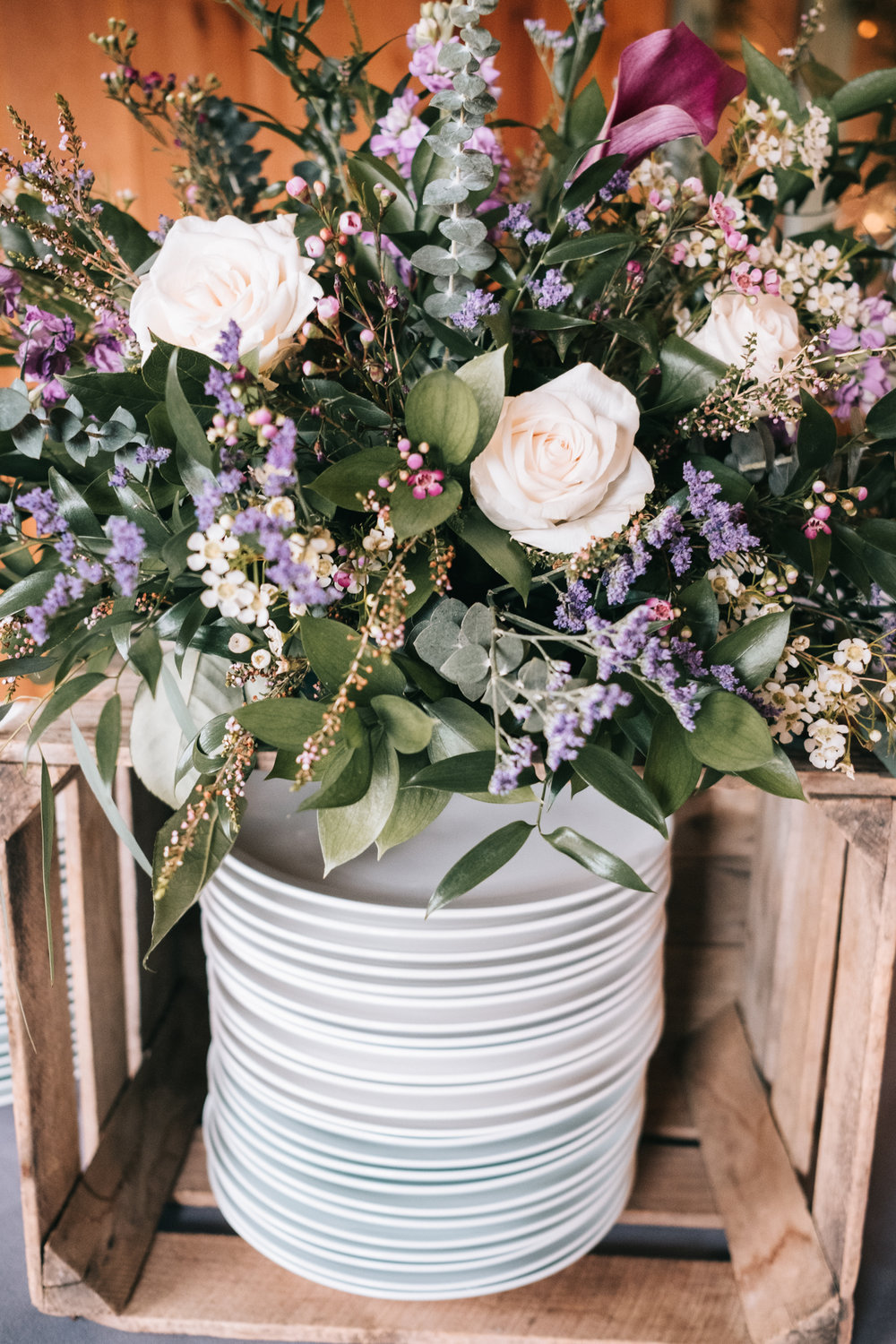 barn wedding crate diy flowers dinner plates