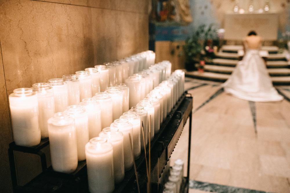 Bride Praying in National Shrine in DC