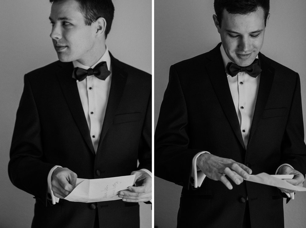 A groom reading a letter from his bride dc wedding