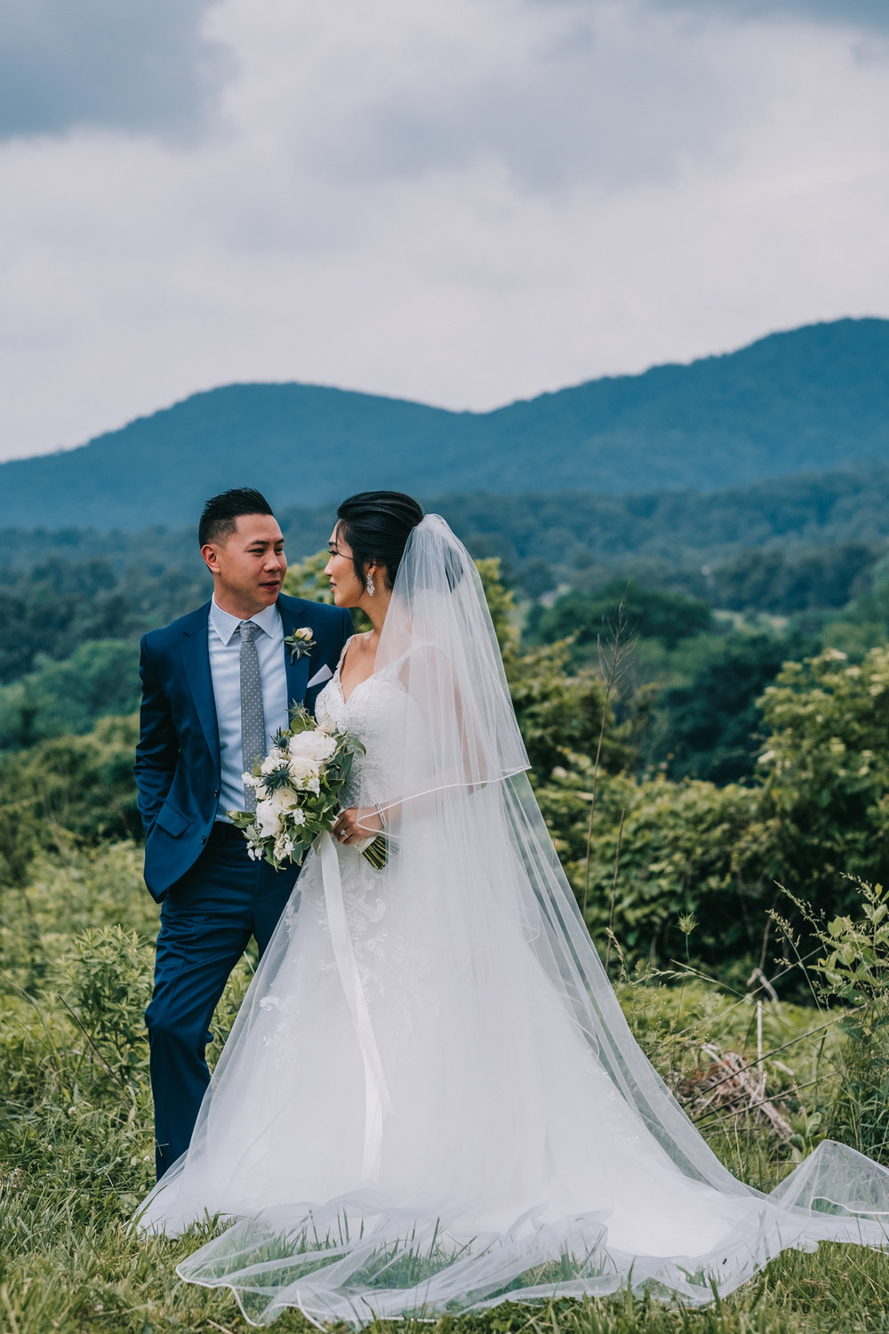 blue ridge mountain wedding first look couple portraits